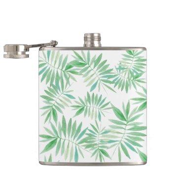 colourarts Tropical palm fern storm hip flask