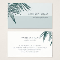 Tropical Palm Frond Colorblock Business Card at Zazzle