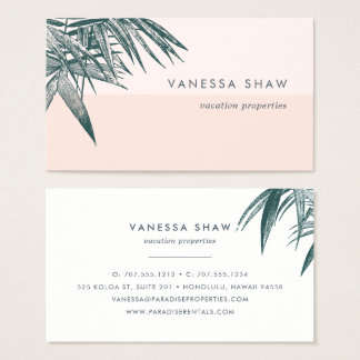 Tropical Palm Frond Colorblock Business Card