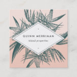 """Tropical Palm Frond Square Business Card<br><div class=""""desc"""">Unique square tropical design features your name and title or business name displayed on a white geometric element, layered over jasper green tropical palm frond leaves on a tone on tone summer peach colorblock background. Add your full contact details to the reverse side, adorned with a smaller palm fronds at...</div>"""