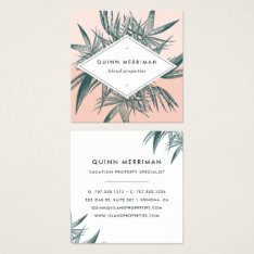 Tropical Palm Frond Square Business Card at Zazzle