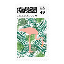 Tropical Palm Fronds and Flamingo Postage