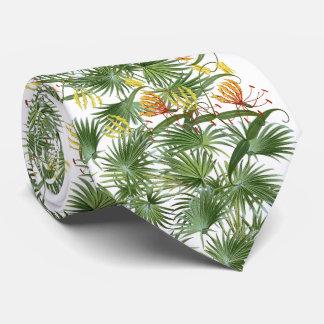 Tropical Palm Fronds Gloriosa Lily Flowers Necktie