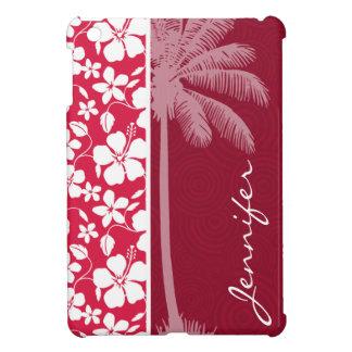 Tropical Palm; fuschia hibiscus iPad Mini Covers