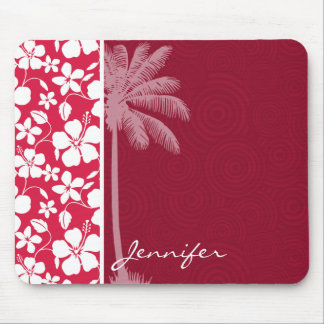 Tropical Palm; fuschia hibiscus Mouse Pad