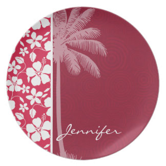 Tropical Palm; fuschia hibiscus Party Plates
