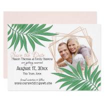 Tropical Palm Geometric Blush Save the Date Card