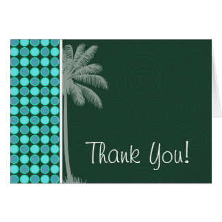 Tropical Palm; Green & Turquoise Polka Dot Greeting Cards