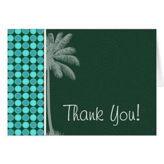 Tropical Palm; Green & Turquoise Polka Dot Card