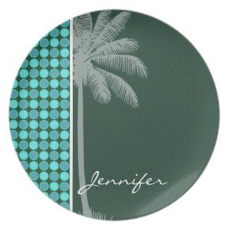 Tropical Palm; Green & Turquoise Polka Dot Plates