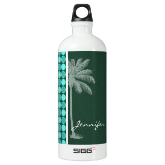 Tropical Palm; Green & Turquoise Polka Dot SIGG Traveler 1.0L Water Bottle