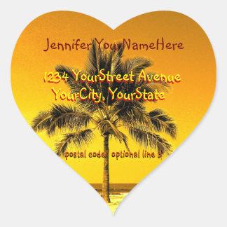 Tropical Palm Heart Shape return address labels