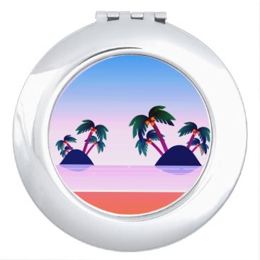 all_summer_products Tropical Palm Island Round Compact Mirror