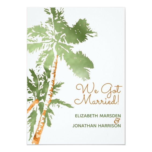 Tropical Palm Just Married Beach Wedding Reception Invitation