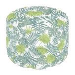 Tropical Palm Leaf Art Painting Pattern Pouf