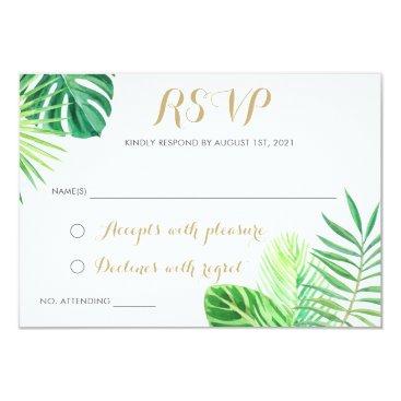 Beach Themed Tropical Palm Leaf Beach RSVP Respond Card