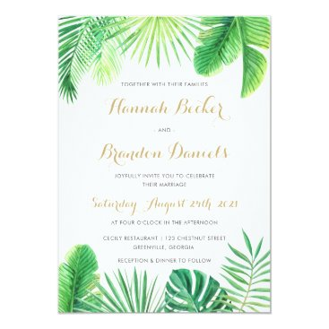 Beach Themed Tropical Palm Leaf Beach Wedding Invitation