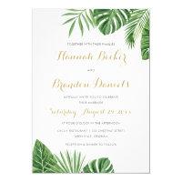 Tropical Palm Leaf Beach Wedding Invitation