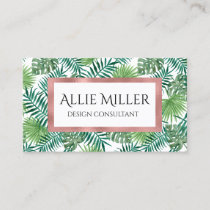 Tropical Palm Leaf Botanical Faux Rose Gold Business Card