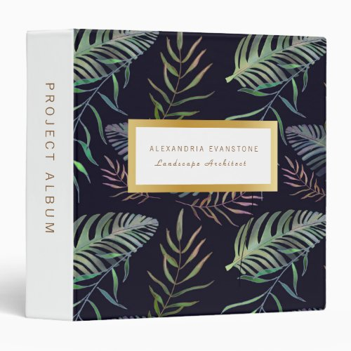 Tropical palm leaf gold frame elegant 3 ring binder