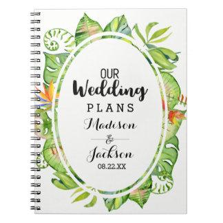 Tropical Palm Leaf Island Wreath Wedding Planner Notebook