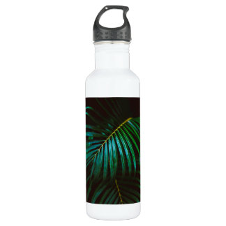 Tropical Palm Leaf Relaxing Green Meditative Water Bottle