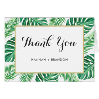 Tropical Palm Leaf Thank You Card