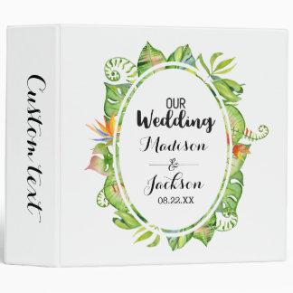 Tropical Palm Leaf Wreath Wedding Photo Album 3 Ring Binder