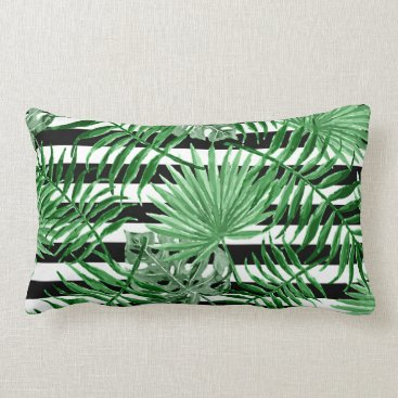 Beach Themed Tropical Palm Leafs Black White Stripes Pattern Lumbar Pillow