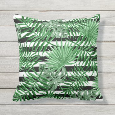 Beach Themed Tropical Palm Leafs Black White Stripes Pattern Outdoor Pillow