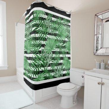 Beach Themed Tropical Palm Leafs Black White Stripes Pattern Shower Curtain