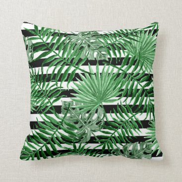 Beach Themed Tropical Palm Leafs Black White Stripes Pattern Throw Pillow