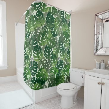 Beach Themed Tropical Palm Leave Design Shower Curtain