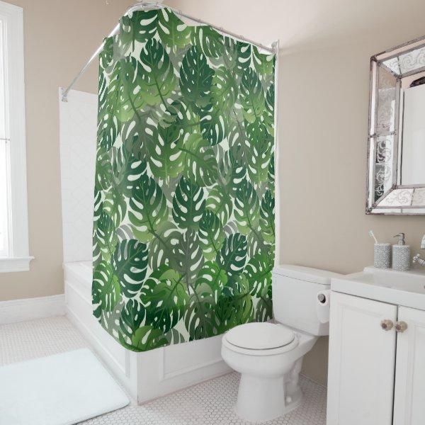 Tropical Palm Leave Design Shower Curtain