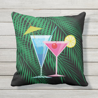 Tropical Palm Leaves and Cocktails Outdoor Pillow