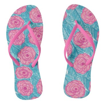Beach Themed Tropical Palm Leaves and Flowers Flipflops