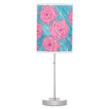Beach Themed Tropical Palm Leaves and Flowers Lamp