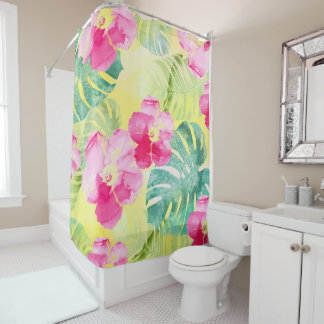 Tropical Palm Leaves and Hibiscus Flowers Shower Curtain
