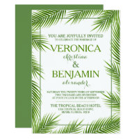 Tropical Palm Leaves Beach Wedding Card