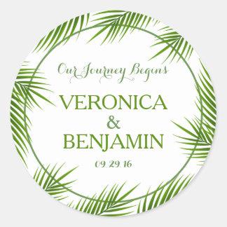 Tropical Palm Leaves Beach Wedding Classic Round Sticker