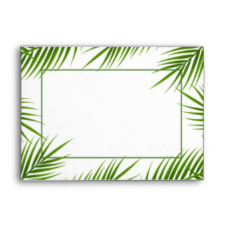 Tropical Palm Leaves Beach Wedding Envelope