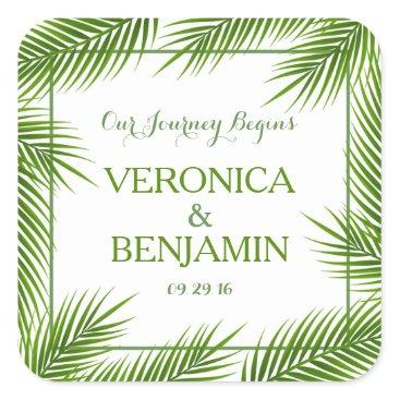 Beach Themed Tropical Palm Leaves Beach Wedding Square Sticker