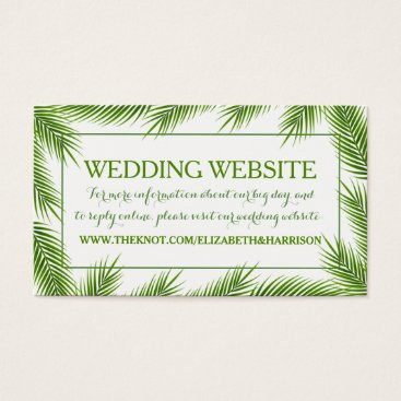 Beach Themed Tropical Palm Leaves Beach Wedding Website Business Card