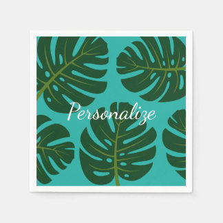 Tropical palm leaves floral print paper napkins