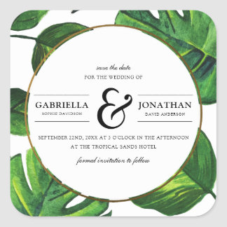 Tropical Palm Leaves & Gold Border Save the Date Square Sticker