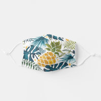 Tropical palm leaves golden pineapple white blue cloth face mask