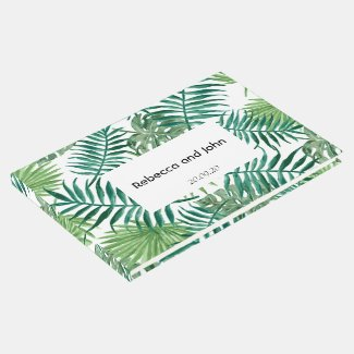 Tropical Palm Leaves Greenery Wedding Guest Book