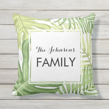 Beach Themed Tropical Palm leaves Hawaii Tropics Monogram Name Throw Pillow