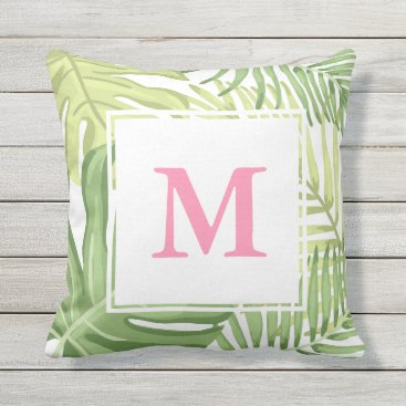 Beach Themed Tropical Palm leaves Hawaii Tropics Monogram Pink Throw Pillow