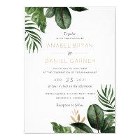 Tropical Palm Leaves Modern Wedding Invitation